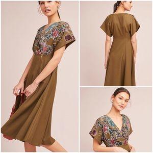Anthropologie Candida Velvet Floral Midi Dress New